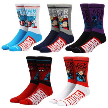Marvel Classic Split Colorblock 5 Pair Crew Socks