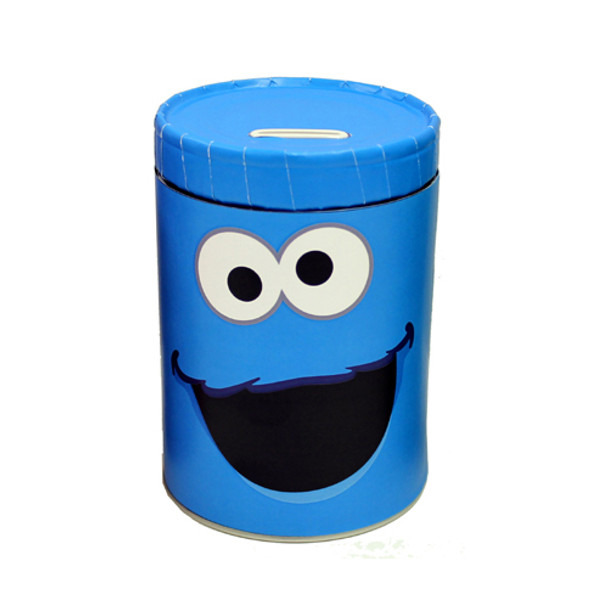 Sesame Street Cookie Monster Round Tin Coin Can Bank