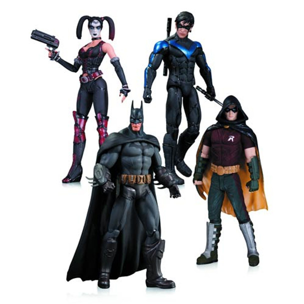 Batman Arkham City Harley Quinn, Batman, Nightwing & Robin Action Figure 4-Pack