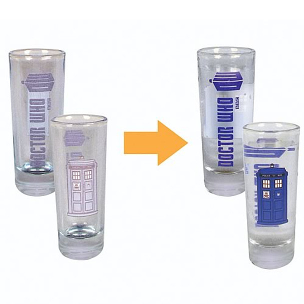 Doctor Who Color-Changing TARDIS 2 oz. Glass Set of 4