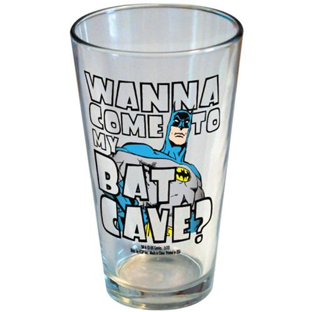 DC Comics Batman Wanna Come To My Bat Cave Pint Glass