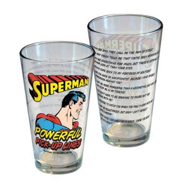 DC Comics Superman Powerful Pick-Up Lines Pint