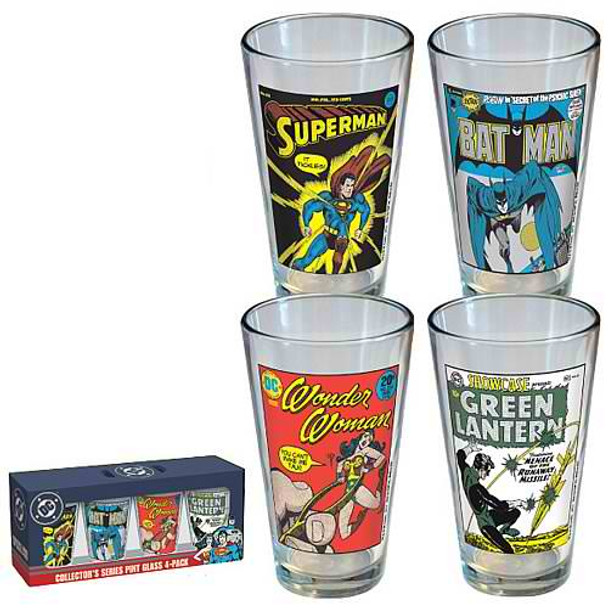 DC Comics Vintage Comic Cover Pint Glass 4-Pack