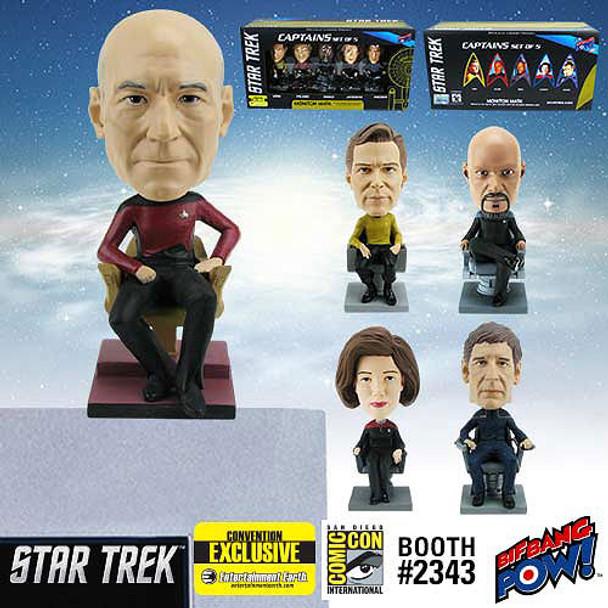 Star Trek Captains Monitor Mate Bobble Heads Set of 5