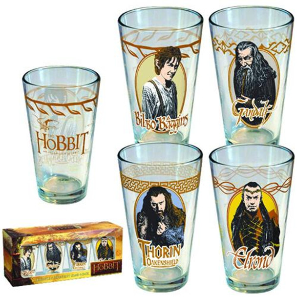 Hobbit: Unexpected Journey Pint Glass 4-pack