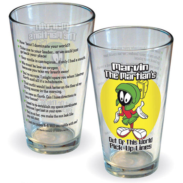 Looney Tunes Marvin the Martian Pick-Up Lines Pint Glass