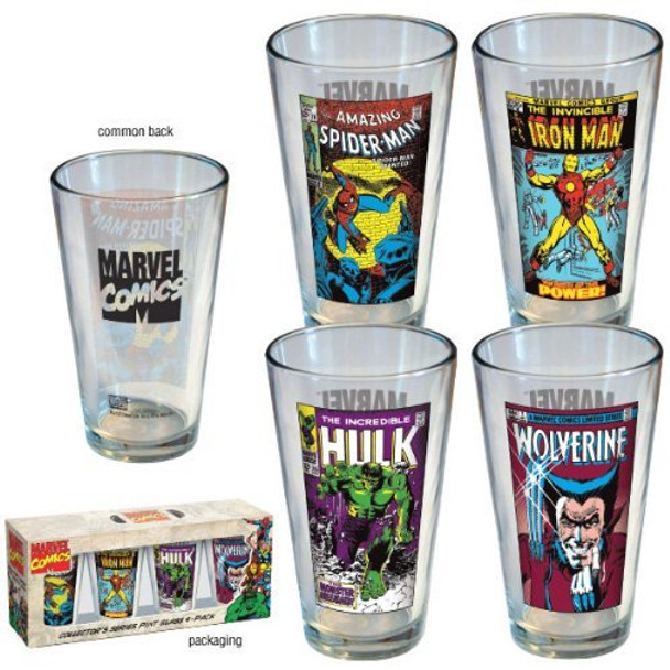Marvel Comics Vintage Cover Pint Glass 4-pack