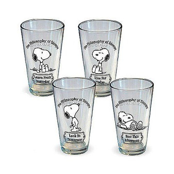 Peanuts Philosophy of Snoopy Pint Glass 4-pack