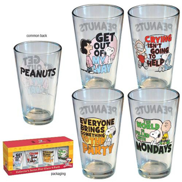 Peanuts Quotes Pint Glass 4-pack