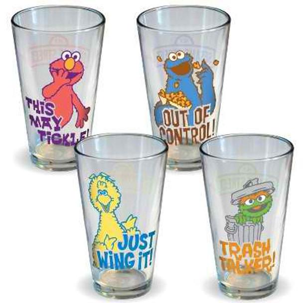 Sesame Street Retro Quotes Pint Glasses 4-Pack