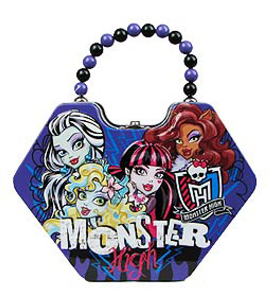 Monster High Group Diamond Shaped Purse with Beaded Handle Tin