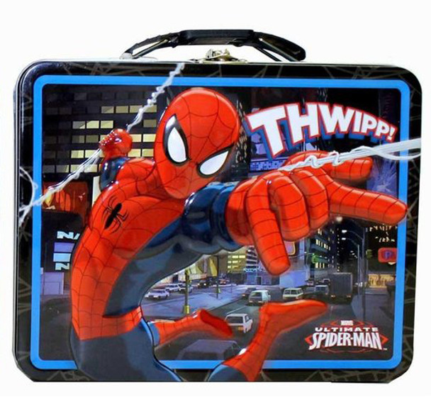 Spider-Man Slinging Web Large Embossed Tin Lunch Box