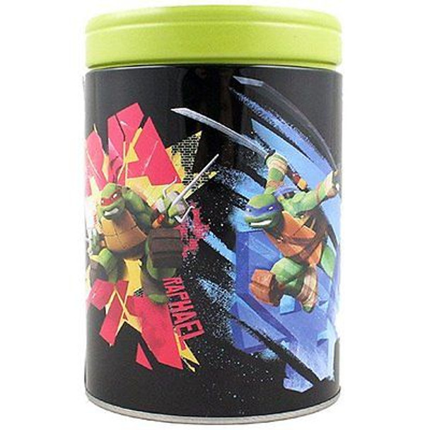 TMNT Never Cross A Ninja Round Tin Coin Bank