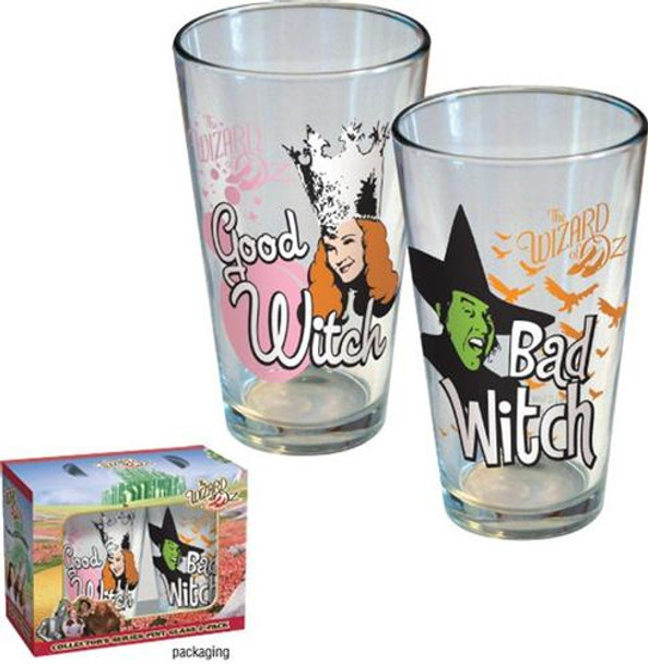 Wizard of Oz Good Witch Bad Witch Pint Glass 2-pack