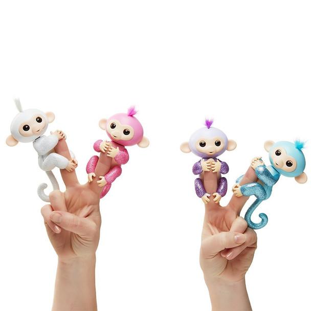 Fingerlings Glitter Monkey - Amelia (Turquoise Blue Glitter)