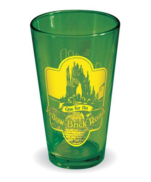 Wizard of Oz One For The Yellow Brick Road Green Pint Glass