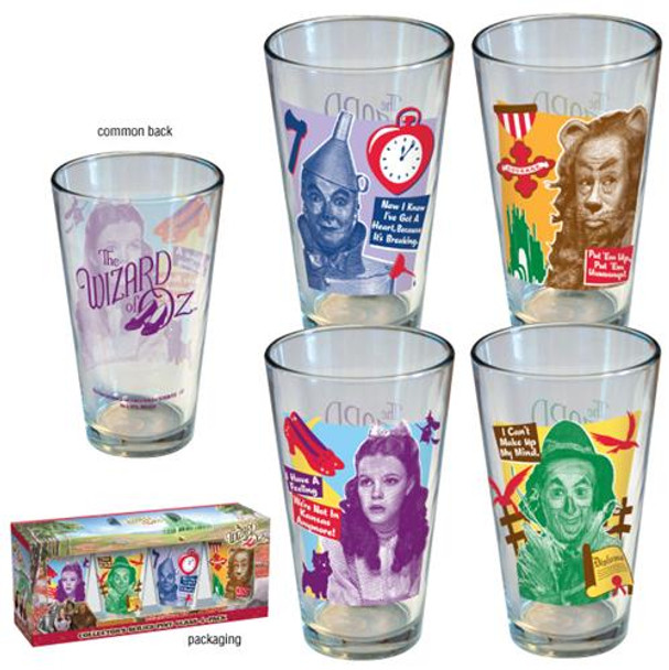 Wizard of Oz Retro Quotes Pint Glass 4-pack