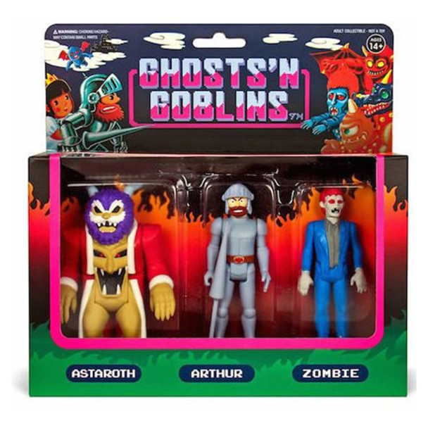 Ghosts n Goblins 3 3/4-Inch ReAction Figure Pack A - Arthur, Astaroth, and Zombie