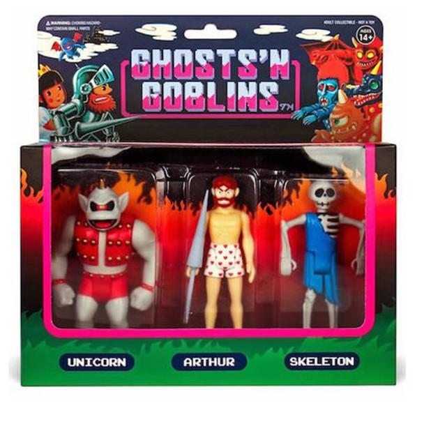 Ghosts n Goblins 3 3/4-Inch ReAction Figure Pack B - Unicorn, Arthur in Underwear, Skeleton