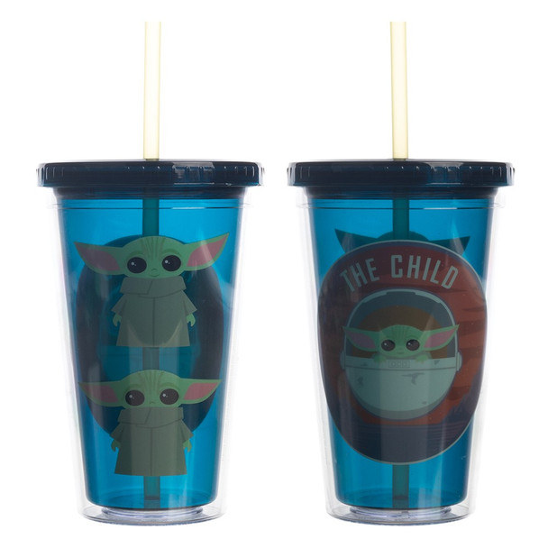 Mandalorian The Child Chibi 16 oz. Acrylic Cup with Straw