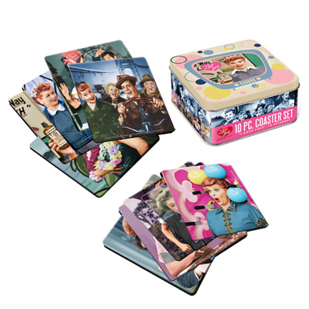 I Love Lucy Coaster Set with Tin Storage Box