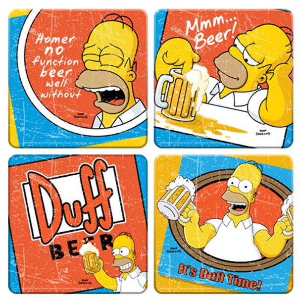 Simpsons Duff Beer Coaster 4-Pack