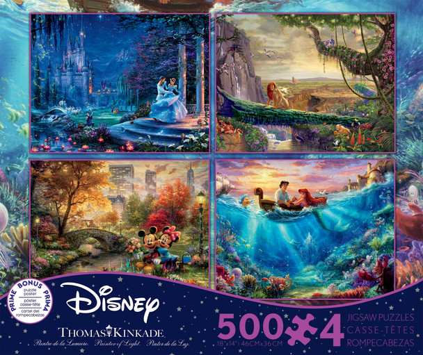 Cinderella, The Lion King, Mickey and Minnie Mouse, and the Little Mermaid 4-in-1 500 Piece Puzzles