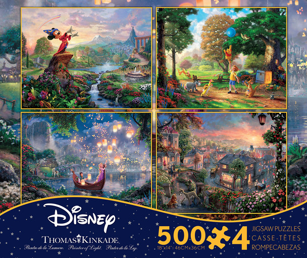 Fantasia, Tangled, Winnie the Pooh, and Lady and The Tramp 4-in-1 500 Piece Puzzles