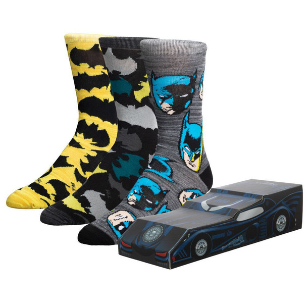 DC Comics Batman Bat Mobile 3 Pair Crew Box Set