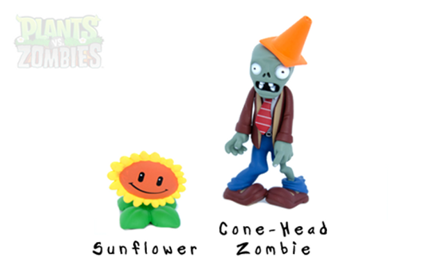 Plants Vs. Zombies 3 Inch Figure Conehead Zombie & Sunflower