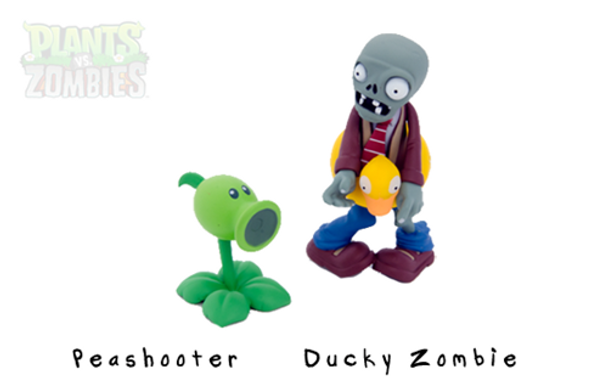 Plants Vs. Zombies 3 Inch Figure Ducky Tube Zombie & Peashooter