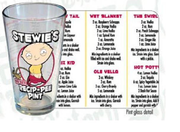 Family Guy Stewie's Secret Recip-Pee Pint Glass