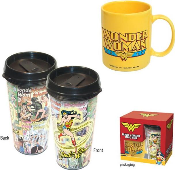 Wonder Woman Travel & Ceramic Mug 2-Pack