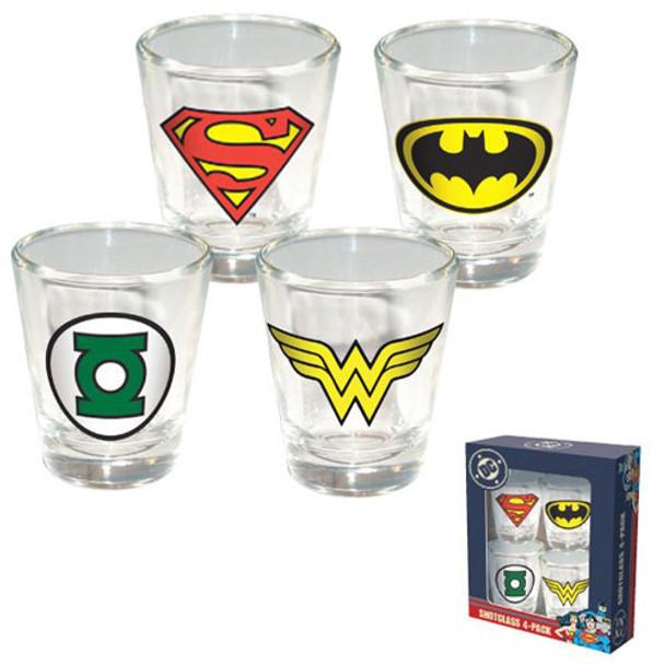 DC Comics Shot Glass 4-Pack