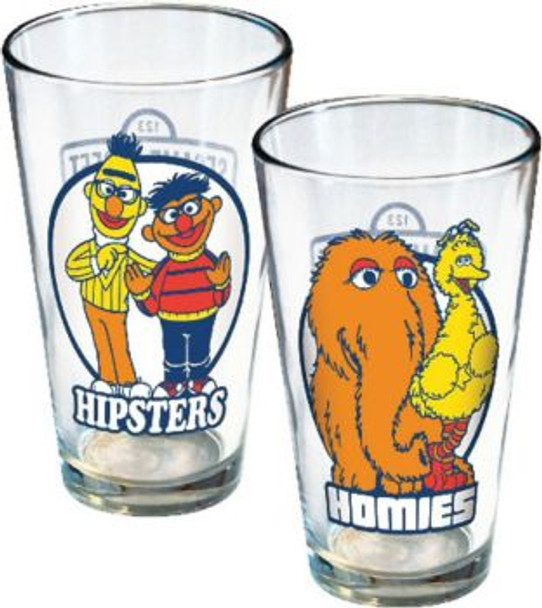 Sesame Street Hipsters & Homies 16 Ounce Pint Glasses 2-Pack