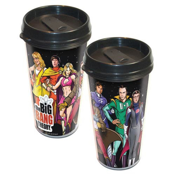 Big Bang Theory Cast Superheroes Travel Mug