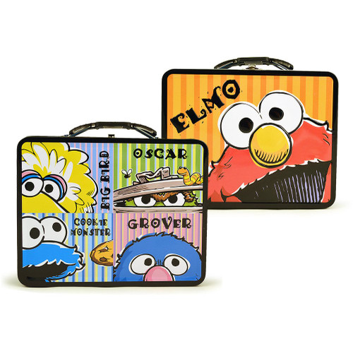 bf6794e00f5d Sesame Street Elmo And Friends Embossed Carry All Tin Lunch Box