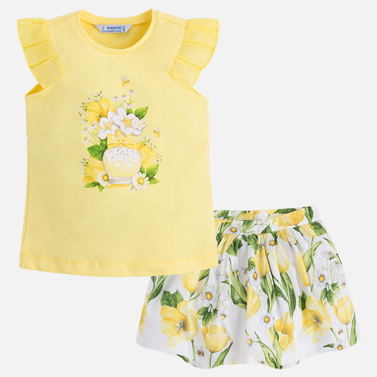 1d540f6a30cb6d Mayoral Girls T-Shirt and Skirt Set - Yellow - Two Birdees
