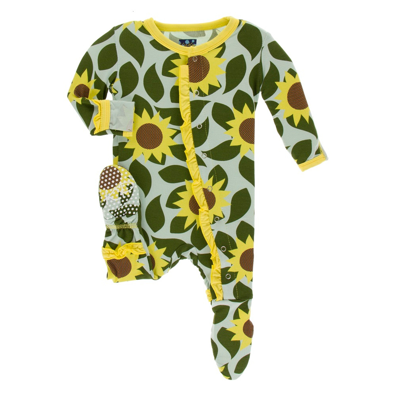 92cb1961a7 Kickee Pants Print Layette Classic Ruffle Footie with Snaps - Aloe Sunflower