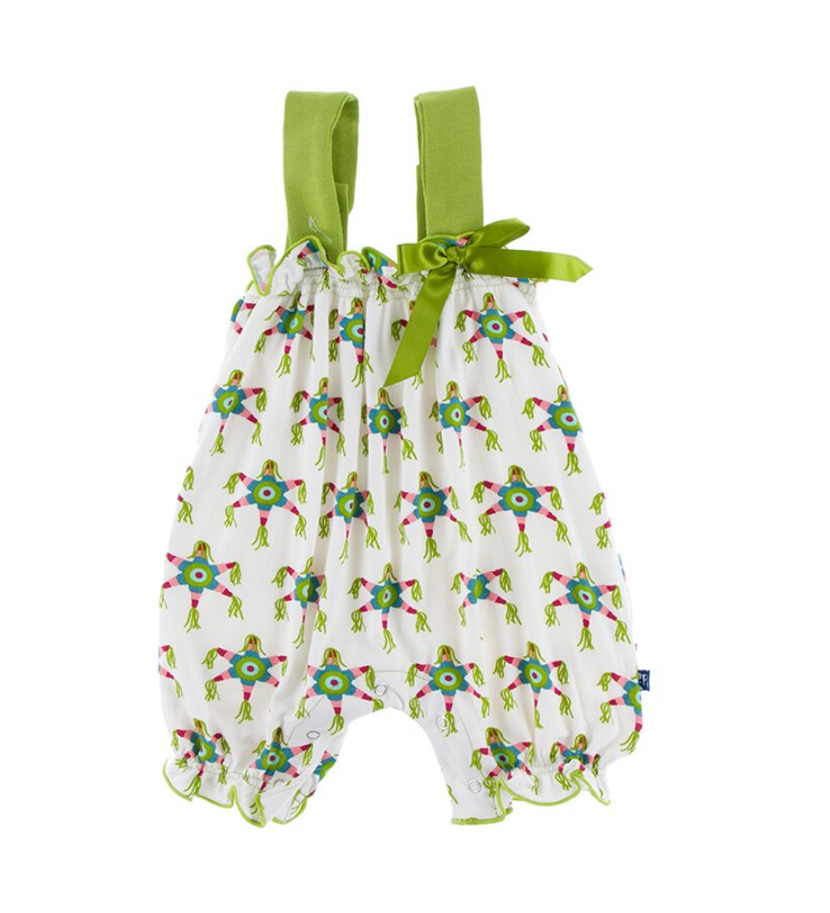 20890f3326fdbe Kickee Pants Cancun Print Gathered Romper with Bow - Natural Piñata - Two  Birdees