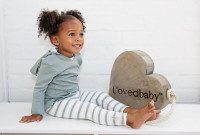 L'ovedbaby 100% Organic Cotton Long-Sleeve Hooded Shirt, Seafoam Paired with L'OVEDBABY Leggings in Seafoam Stripe