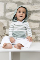 L'OVEDBABY 100% Organic Cotton Long-Sleeve Hooded Shirt, Seafoam Stipe paired with white L'ovedbaby Leggings