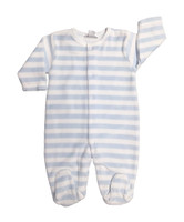 Kissy Kissy 100% Peruvian Pima Cotton Light Blue Jungle Menagerie Velour Stripe Footie