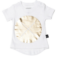 Huxbaby Organic Cotton Drop Back T-Shirt, Circle Cross Gold