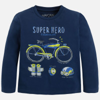 Mayoral Boys Long Sleeve Superhero Kit Tee, Blue