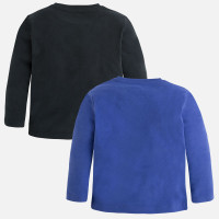 Mayoral Boys Long Sleeve Tee Set of 2, Blueberry/Black