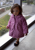 Mayoral Baby Girls Rosetones Faux Fur Coat, Mauve