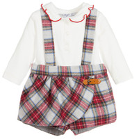Mayoral Baby Girls Tartan Bermuda Set, Red