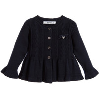 Mayoral Baby Girls Navy Knitted Peplum Cardigan