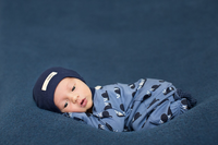 L'OVEDBABY 100% Organic Cotton Footed Overall - Navy Snails